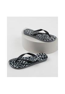 Chinelo Havaianas Feminino Top Estampado Animal Print Preto