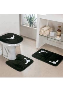 Jogo Banheiro Dourados Enxovais Margarida Unica 3 Peças Preto