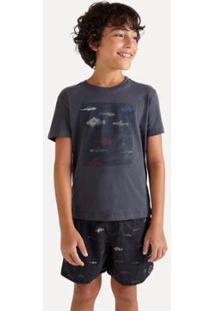 Camiseta Infantil Reserva Mini Sm Silk Peixes Masculina - Masculino-Preto