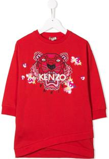 Kenzo Kids Vestido Com Tigre Bordado - Vermelho