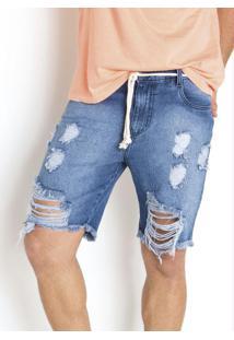 Bermuda Com Cordel E Detalhe Destroyed Jeans