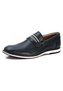 Sapato Brogue Trivalle Couro Macio Bico Redondo Azul Marinho