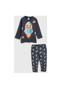 Pijama Kyly Longo Infantil Foguete Grafite