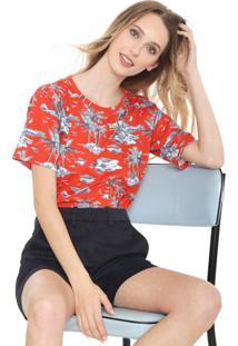 Camiseta Lacoste Estampada Vermelha