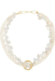 Hermina Athens Gold-Plated Pearl Necklace - Branco