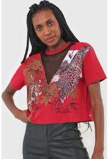 Camiseta Triton Recorte Tela Vermelha - Kanui