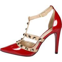 ae65cfbf8d Dafiti. Scarpin Week Shoes Tachas Spike Vermelho Com Nude