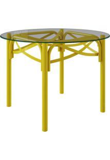 Mesa De Jantar Redonda Katrina I Amarelo 110 Cm