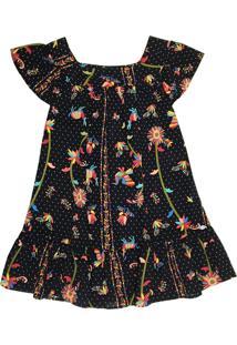 Vestido Infantil Tóing Em Viscose Preto Com Poá