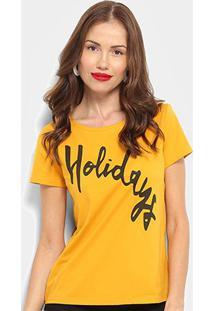 Camiseta Top Moda Holidays Feminina - Feminino-Amarelo