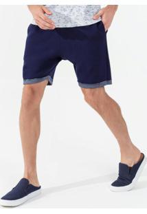 Bermuda Masculina Moletom Masculina Azul