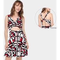 c8e62b122 Vestido Top Moda Evasê Curto Estampado - Feminino-Vermelho