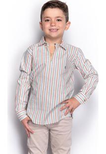 Camisa Social Infantil Menino Manga Longa Listrada Casual - Kanui