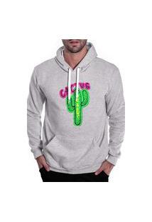 Blusa De Frio Moletom Masculino Benellys Cactus Canguru Cinza Claro