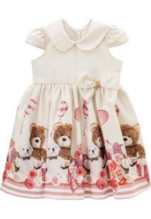 Vestido De Festa Libelinha Para Bebê Com Poás E Barrado De Ursos - Bege