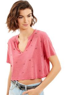 Camiseta John John Pin Malha Rosa Feminina (Rosa Medio, Pp)