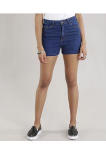 Short Jeans Feminino Hot Pants Azul Escuro