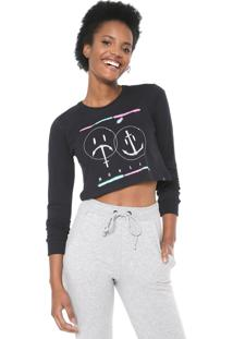 Camiseta Cropped Hurley Laugh Now Shred Later Preta
