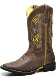 Bota Country Top Franca Shoes Crazy Horse Texana Masculina - Masculino-Café