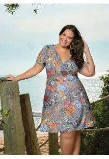 Vestido Curto Floral Transpassado Plus Size