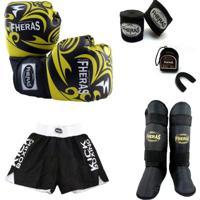 0b2136788 Kit Muay Thai Luva Bandagem Shorts Bucal Caneleira 08 Oz Tribal - Masculino