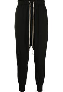 Rick Owens Drkshdw Drop-Crotch Drawstring Trousers - Preto