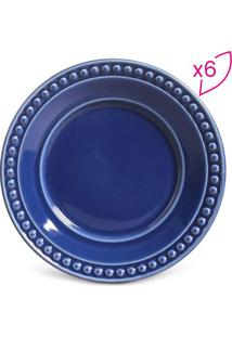 Jogo De Pratos Para Sobremesa Atenas- Azul Escuro- 6Porto Brasil
