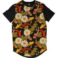 Camiseta Bsc Longline Carpa Koi Flor De Lótus Sublimada - Masculino-Preto aa80f5729b2a3