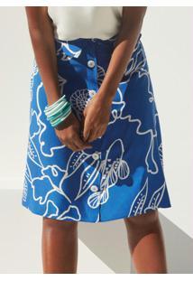 Saia Tecido Rayon Bali Azul