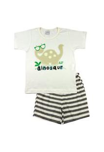 Pijama Infantil Ano Zero Menino Meia Malha E Malha Listrada Silk Refletivo Dinosaur - Mescla