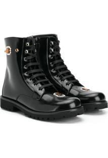 Dolce & Gabbana Kids Ankle Boot Bordada - Preto