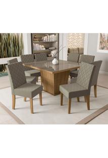 Conjunto De Mesa De Jantar Com Tampo De Vidro E 8 Cadeiras Pitanga Suede Bege E Freijó