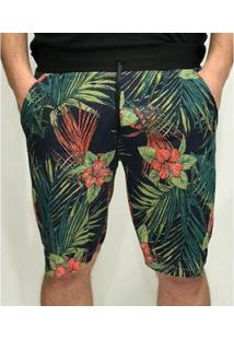 Bermuda Moletom Floral Flores D'Affari Masculina - Masculino-Verde Escuro