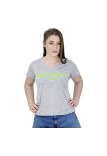Camiseta De Frases Feminina Woman Just Be Happy Mescla - La Cerise - Bz0017-Mc