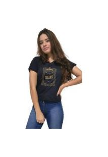 Camiseta Feminina Gola V Cellos Retro Frame Premium Preto