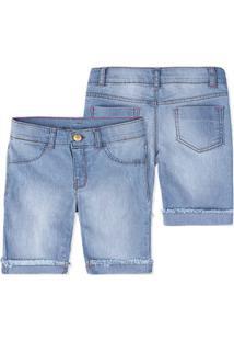 Bermuda Jeans Infantil Menina Detalhe Destroyed Hering Kids