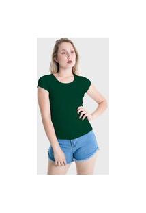 Camiseta T-Shirt Básica Plus Size Lynnce Verde Escuro