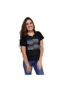 Camiseta Feminina Cellos Degradê Premium Preto