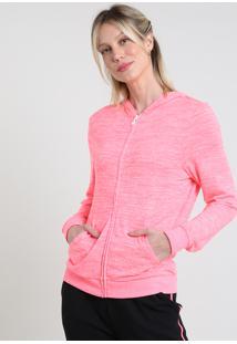Blusão Feminino Esportivo Ace Em Moletom Com Capuz E Bolsos Rosa