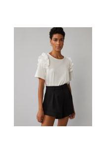 Amaro Feminino T-Shirt Regular Babados Cava, Off-White