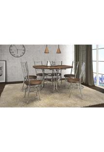 Conjunto De Mesa De Jantar 6 Cadeiras Canadá Madeira Marrom