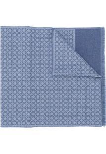 Salvatore Ferragamo Cachecol Com Estampa Geométrica De Lã - Azul