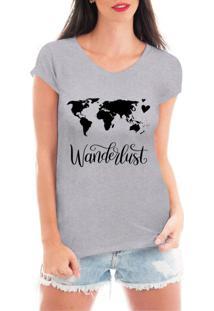 Camiseta Criativa Urbana Wanderlust Viagem Cinza