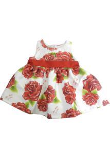Vestido Infantil Gira Baby Kids Rosas Vermelhas