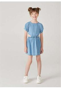 Vestido Jeans Infantil Menina Com Mangas Bufantes