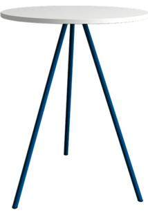 Mesa Lateral Gabriela Wood Branca E Azul