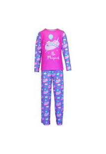 Pijama Masculino Manga Longa E Calça Isabb Porcórnio Rosa