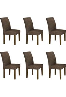 Conjunto Com 6 Cadeiras Olímpia Ipê E Linho Marrom