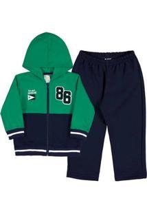 Conjunto Bebê Menino Moletom - Masculino-Verde