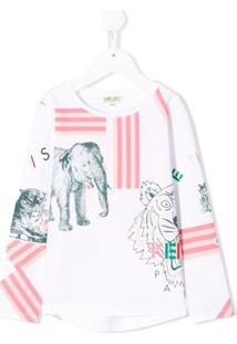 Kenzo Kids Blusa Com Estampa De Logo - Branco